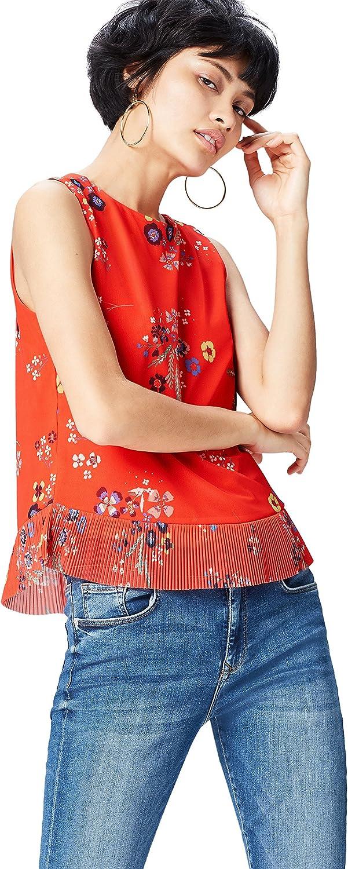 Marca Amazon - find. Blusa con Volante Plisado para Mujer