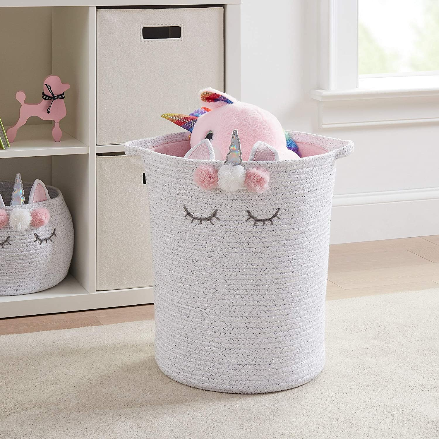 JN Better Homes & Gardens Round Tapered Cotton Rope Laundry Hamper with Drawstring Liner - Unicorn.