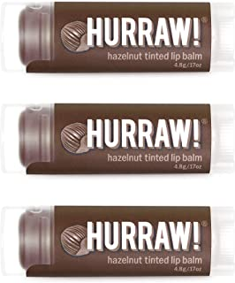 product image for Hurraw! Hazelnut Tinted Lip Balm, 3 Pack: Organic, Certified Vegan, Cruelty and Gluten Free. Non-GMO, 100% Natural Ingredients. Bee, Shea, Soy and Palm Free. Made in USA