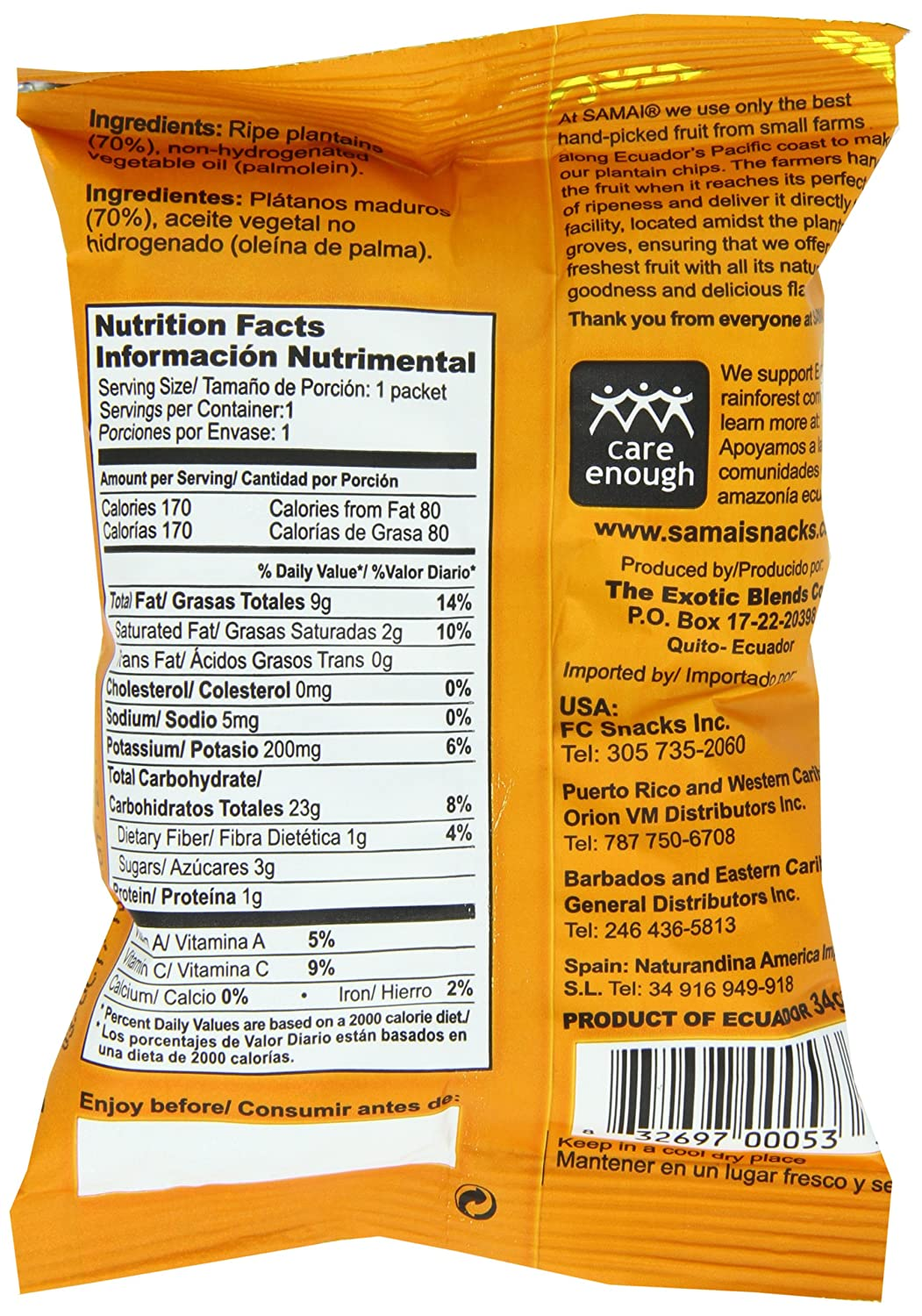Amazon.com: Samai Plantain Chips, Naturally Sweet, 1.2 Ounce (Pack of 60)