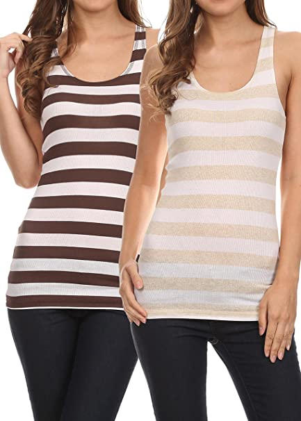 d007eec4d1271e Womens Racerback Tank Top Long Tunic Cotton Ribbed Jersey Tank Top 2 Pk Brn    Wht