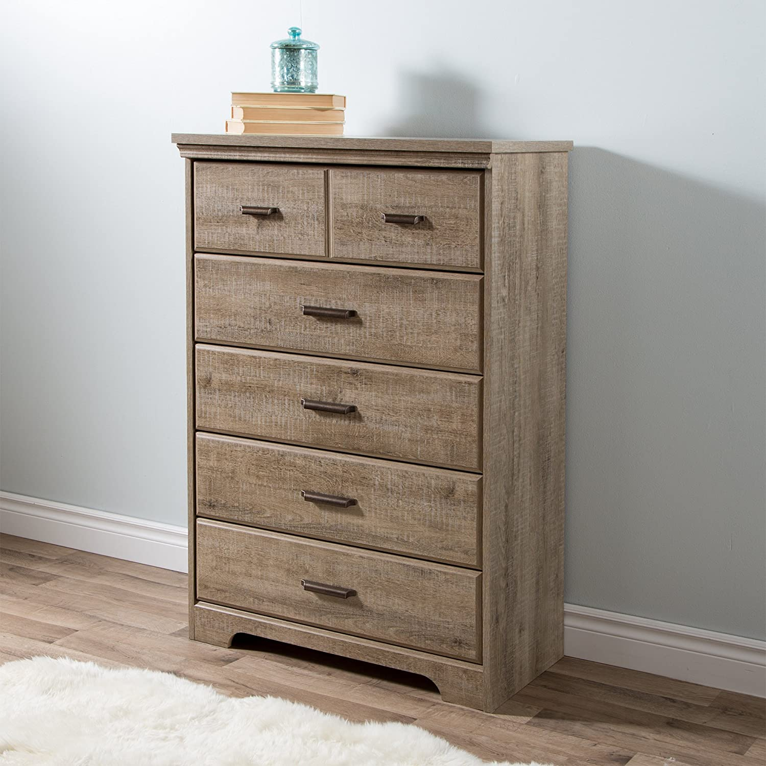 south shore furniture versa drawer chest weathered oak amazon  - south shore furniture versa drawer chest weathered oak amazonca home kitchen