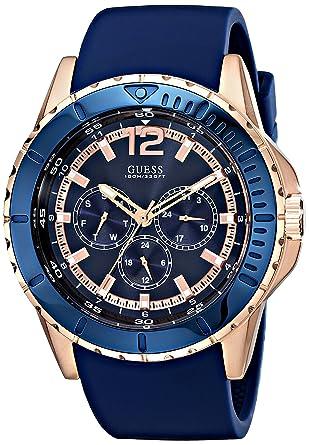 Guess U0485G1 - Reloj de Pulsera Hombre, Silicona, Color Azul: Amazon.es: Relojes