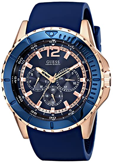 7283d416 Guess U0485G1 - Reloj de Pulsera Hombre, Silicona, Color Azul: Amazon.es:  Relojes