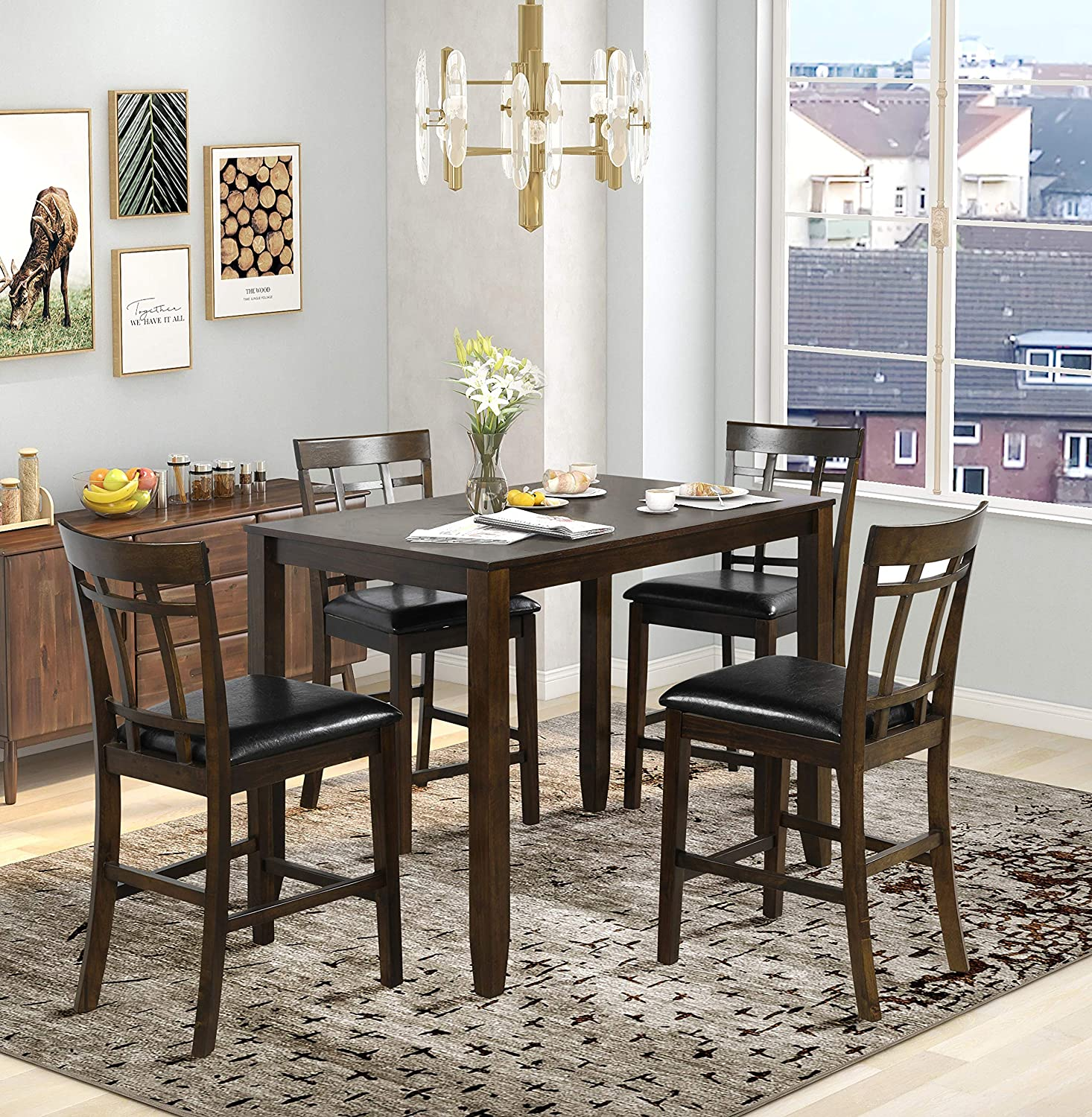 Harper Bright Designs 5 Piece Wood Dining Table Set Pub And Bistro Antique Mahogany Vintage Rectangular Counter Height Bar Table With 4 Chairs For Dining Room Table Chair Sets