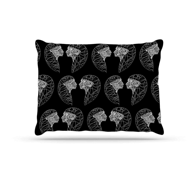 KESS InHouse Maria Bazarova Snowflakes White Illustration Dog Bed, 50  x 40