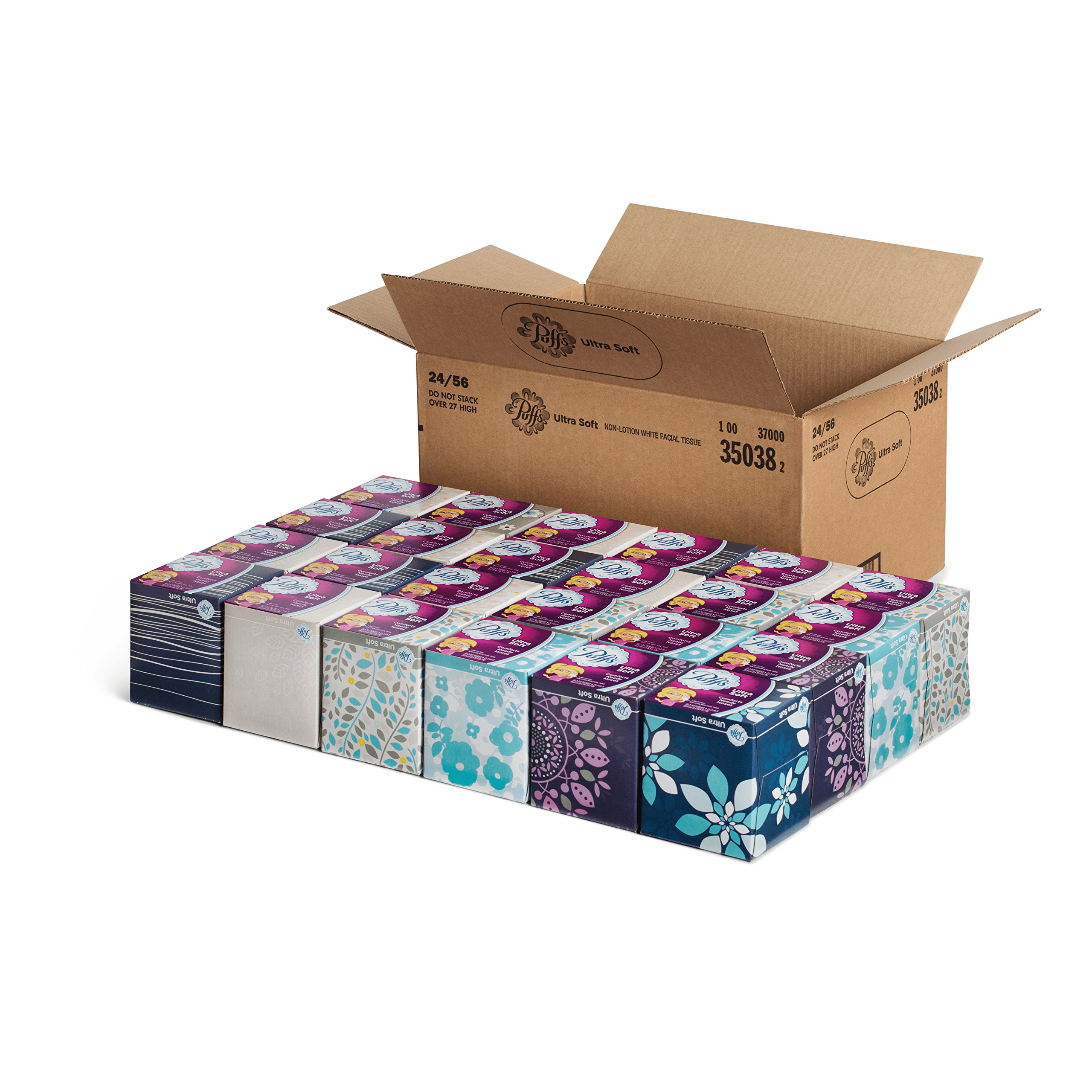 Puffs 35038 Ultra Soft Facial Tissue, 56 Sheets per Box (Case of 24)