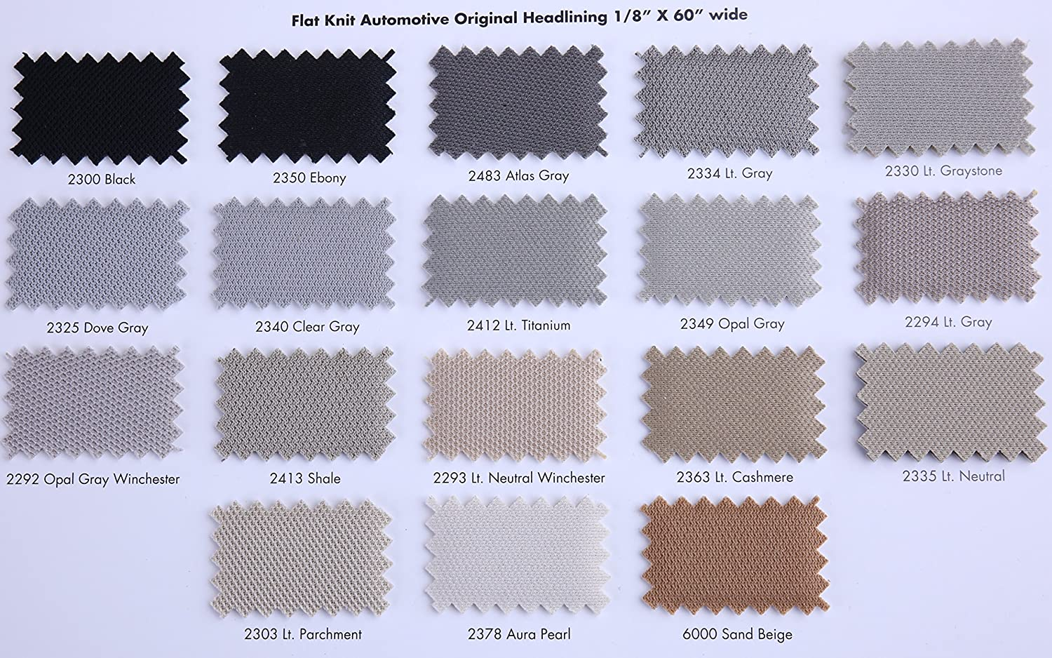 Headliner Magic - Flat Knit Style Auto Headliners - 18 Colors (2340 - Clear Gray)