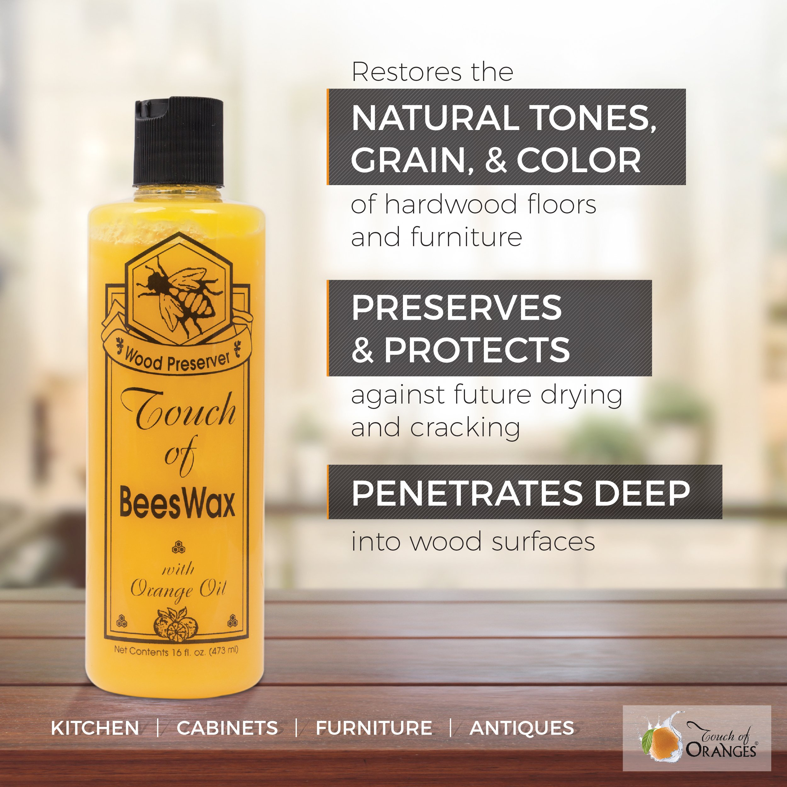 Complete Wood Restoration Kit, Wood Floor Restorer, Orange Oil Cleaner 32 oz, Beeswax Furniture Polish 16 oz, Restore A Finish 16 oz, Cover Scratches and Blemishes (Dark Oak) by Touch Of Oranges
