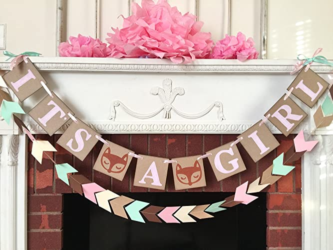 Woodland Fox Baby Shower Decorations   Tribal Baby Shower   Itu0027s A Girl  Banner  Fox