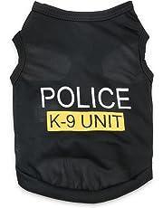 DroolingDog Pet Police T Shirt Dog Clothes Vest for Small Dogs, Medium, Black