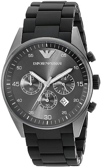 Emporio Armani AR5889 - Reloj cronógrafo de cuarzo para hombre con correa de acero inoxidable, color negro: Emporio Armani: Amazon.es: Relojes