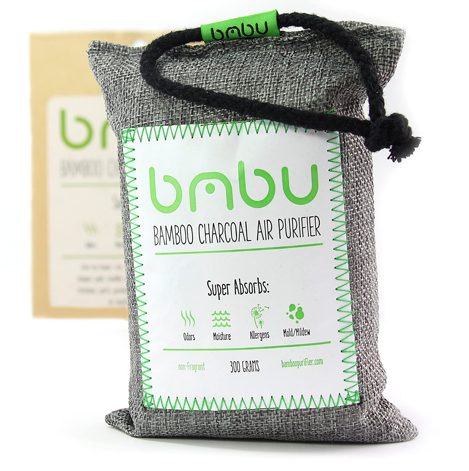 bmbu Bamboo Charcoal Car Deodorizer/Car Freshener Bag - Remove Odor, Control Moisture & Purifier Your Car, Closet, Bathroom, Kitchen, Litter Box - Non-Fragrant Alternative to Sprays (1) Standard Modern