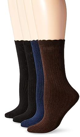 2aa0ee481f75b PEDS Women's Classic Black Ladies Dress Crew Socks, Pack of 2, Assorted,  Shoe