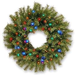 "24"" B/O Pre-Lit LED Norwood Fir Artificial Christmas Wreath – Multi-Color Lights"