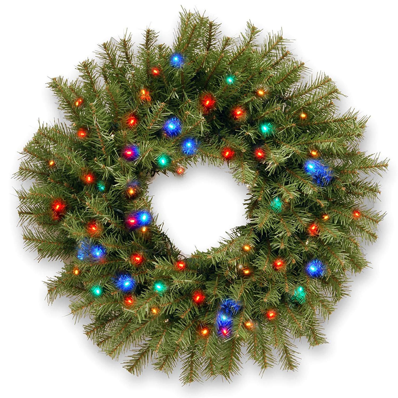 24'' B/O Pre-Lit LED Norwood Fir Artificial Christmas Wreath – Multi-Color Lights