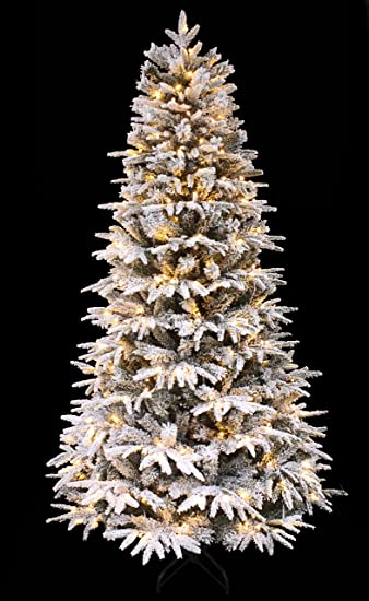 new product c9d92 33ce4 HOLIDAY STUFF 7ft Snowy Forest Spruce The Pre-lit PE Feel Real Flocked  Narrow Slim Artificial Christmas Tree (7ft Prelit)