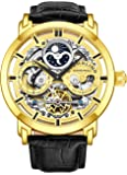 Stührling Original Mens Watch Stainless Steel Automatic, Skeleton Dial, Dual Time, AM/PM Sun Moon,Genuine Leather Strap…