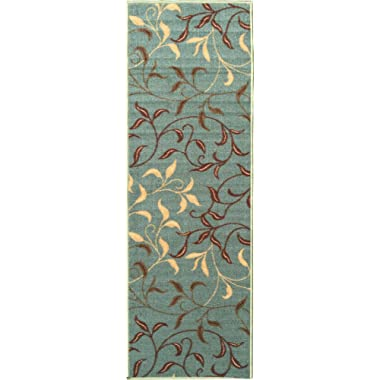 Ottomanson Otto Home Contemporary Leaves Design Modern Area Rug Hallway Runner, 2'7  X 9'10 , Sage Green/Aqua Blue