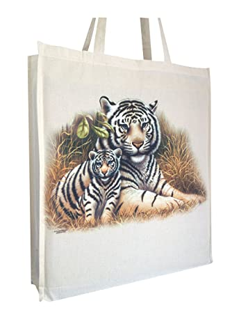 Tiger Cotton Shopping Bag with gusset and long handles,