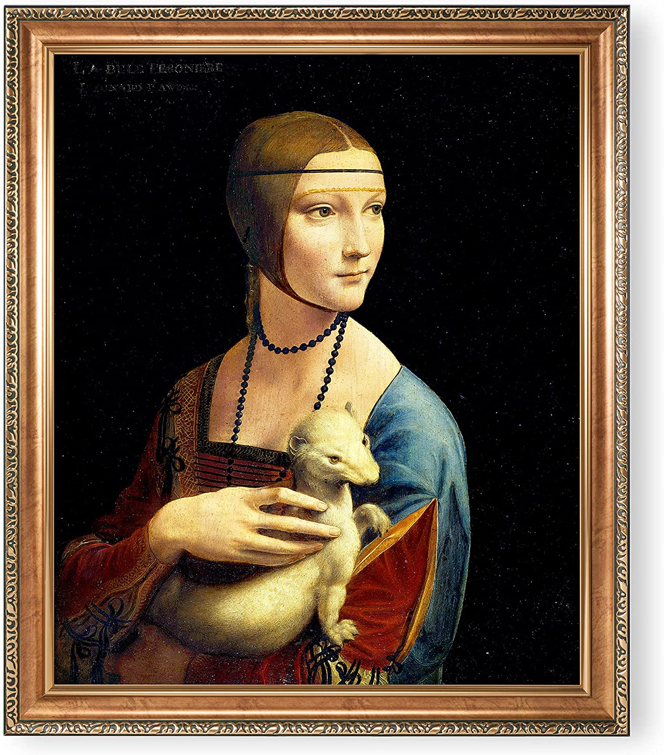 Lady with an Ermine by Leonardo da Vinci Framed Size:34.5 x 28.5 inches,Image Size:30x24 inches,Luxurious Gold Embossing Frame The World Classic Art Reproductions,Giclee Prints Wall Art for Home Décor