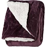 "Life Comfort Microfiber Plush Polyester 60""x70"" Large All Season Blanket for Bed or Couch Ultimate Sherpa Throw, Purple"