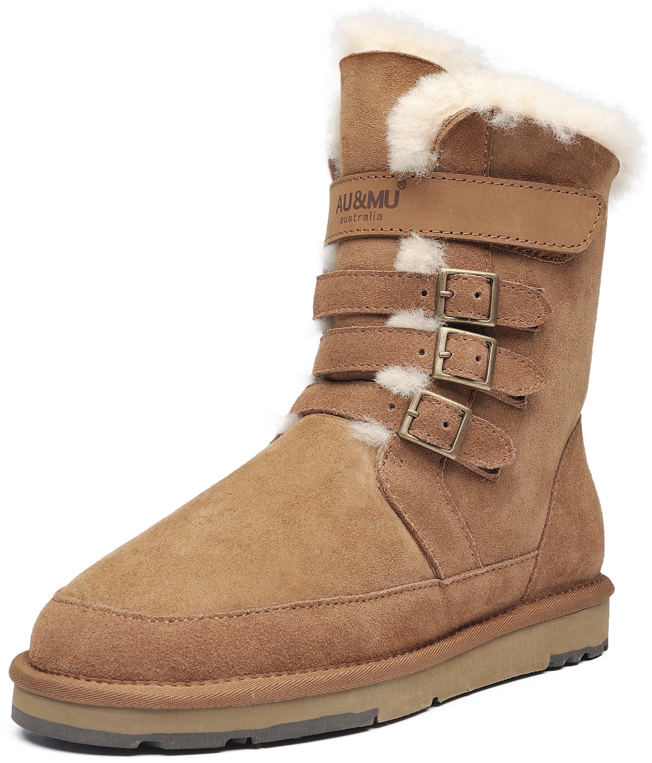 AU&MU AUMU Womens Mid Calf Snow Boots Short Winter Boots Chestnut Size 8