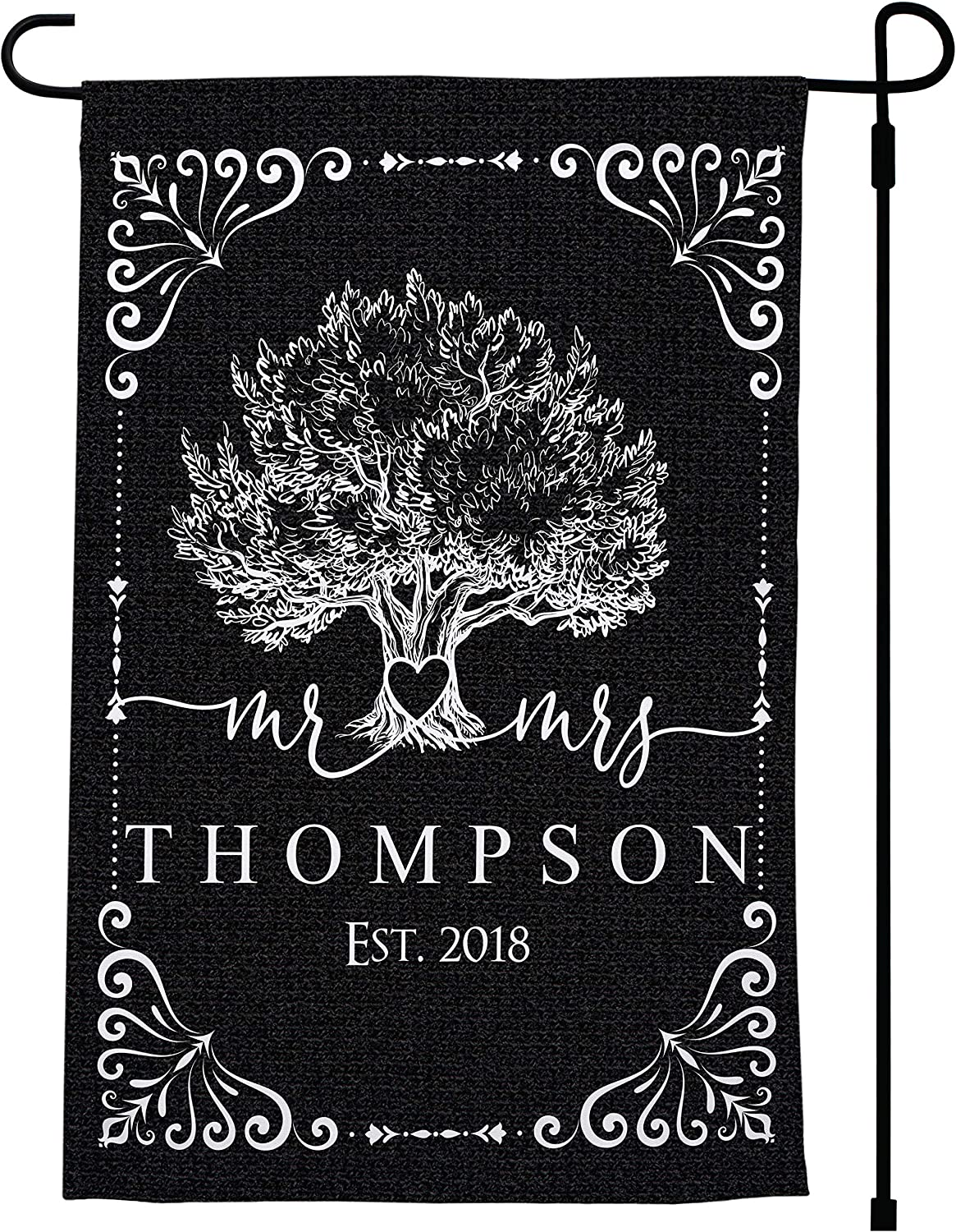 Personalized Garden Flags 9 Design 12 Color W Any Text 12 X 18 Double Or Single Sided Custom Vertical Yard Flag W Family Last Name Fall Summer Outdoor Decor Gift Monogram Welcome Sign Garden Outdoor Amazon Com