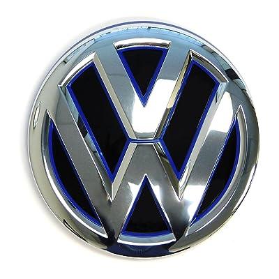 Genuine OEM VW Emblem Jetta Hybrid 2015 2016 2020 MK6 Blue Trim Front Grille Badge 5C6853601FAFL: Automotive