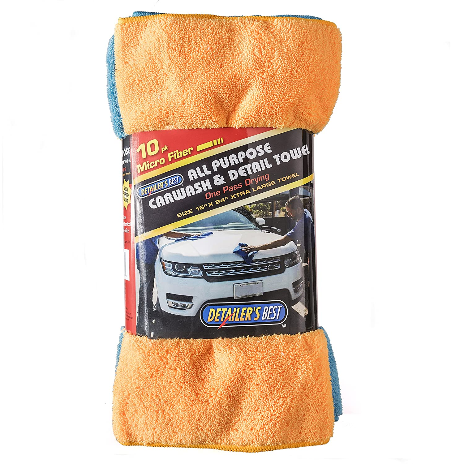 Cleaning Solutions 79104-10 PK Blue/Yellow XL Microfiber Towels (24' x 16') Pack of 10, 10 Pack
