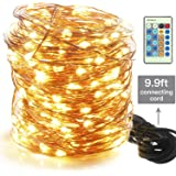 Moobibear 99ft 300LEDs Outdoor/Indoor Flexible Dimmable Copper Wire String Lights Plug In ,Waterproof Starry Lights with Remote Control for Garden, Room, Patio and Party , Warm White