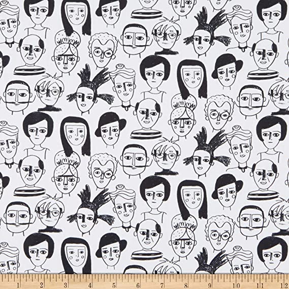 Art History in Black and White from Friends /& Faces Collection for Paintbrush Studio Fabric 100/% Cotton