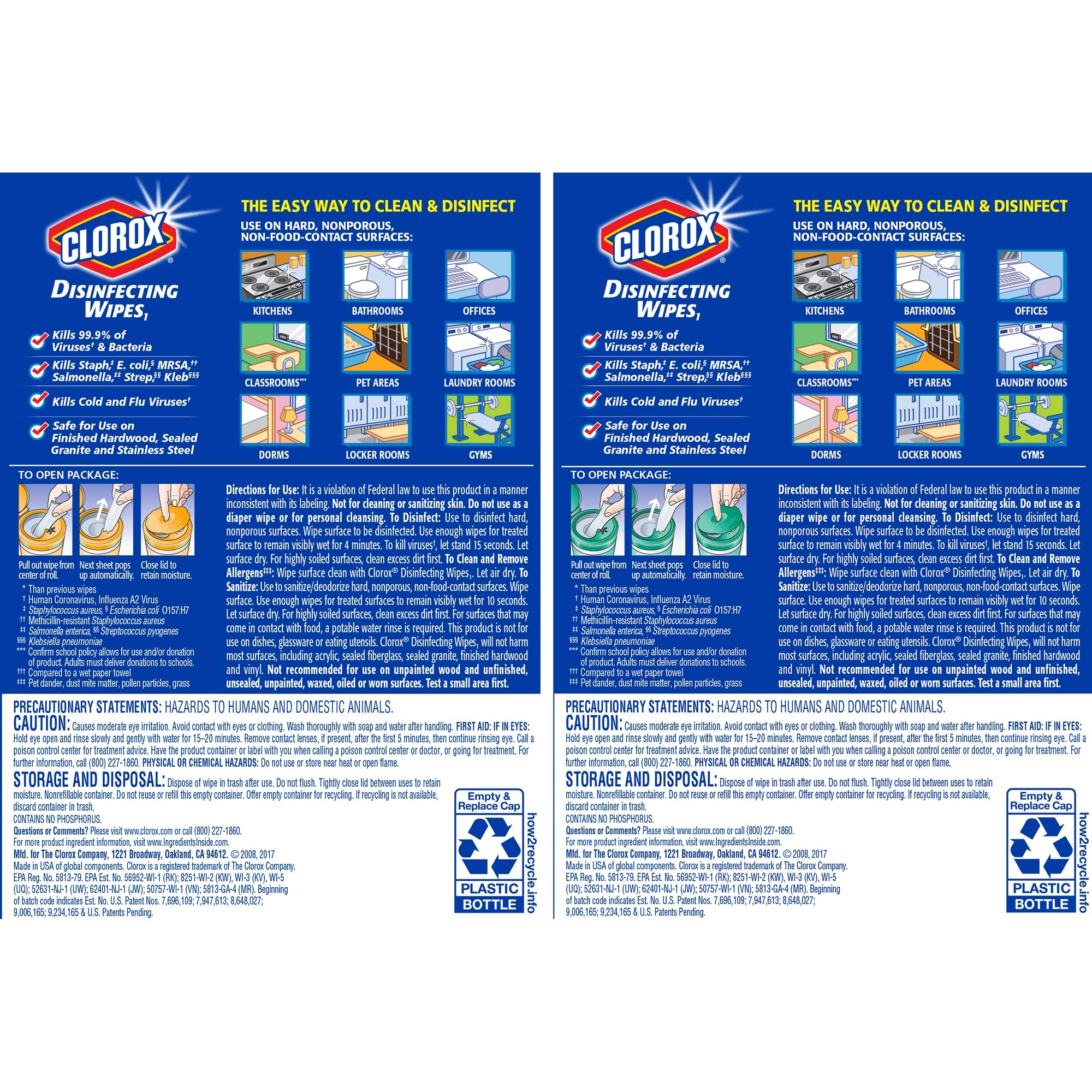 Clorox Disinfecting Wipes Value Pack, Bleach Free Cleaning Wipes - 75 Count Each (Pack of 3) (.5 Pack(225 Count)) by Clorox (Image #5)