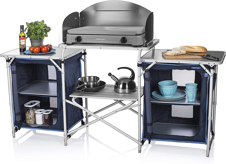 CAMPART Travel KI-0732 Cocina de camping Málaga, Con paravientos, Dos compartimentos de almacenamiento, Armario doble, Azul