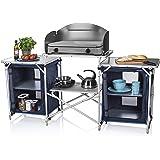 CamPart Travel Cocina de camping Málaga, Con paravientos, Dos compartimentos de almacenamiento, Armario doble, Azul, 172…