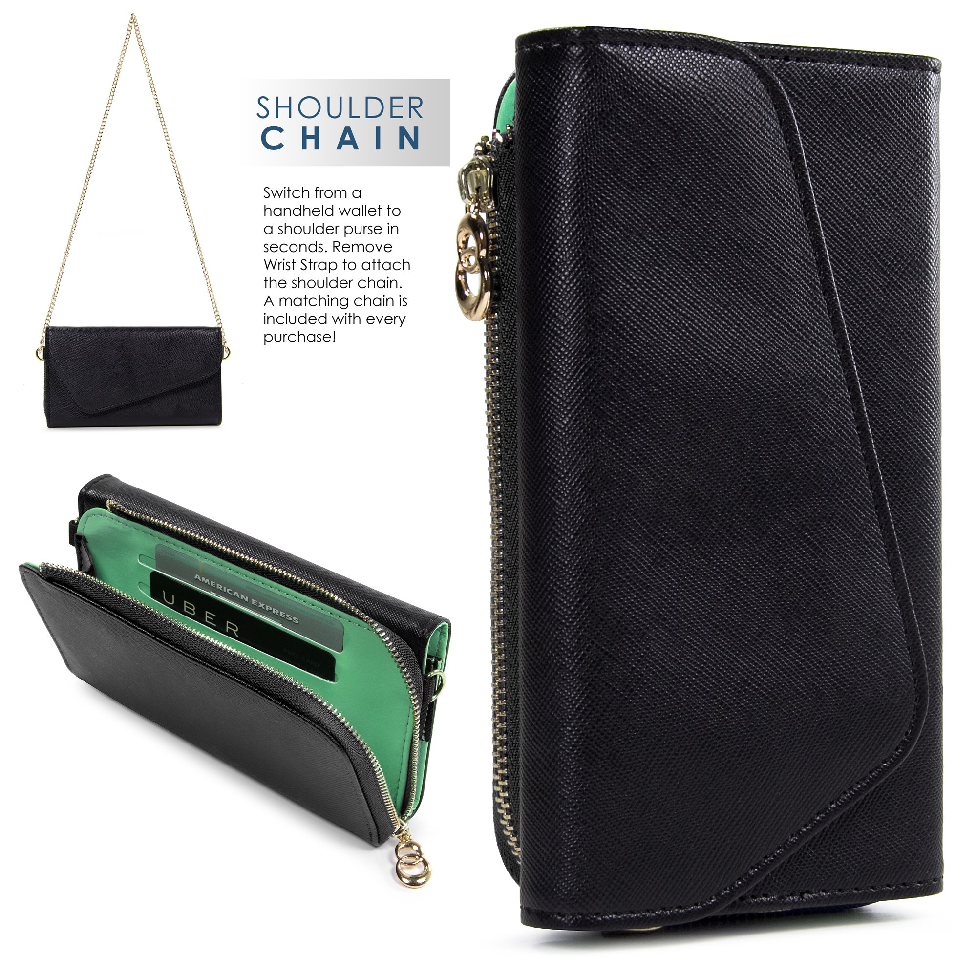 Wristlet Wallet Phone Case Women Clutch Wrist Strap Card Slots Cash Pocket Crossbody Shoulder Bag
