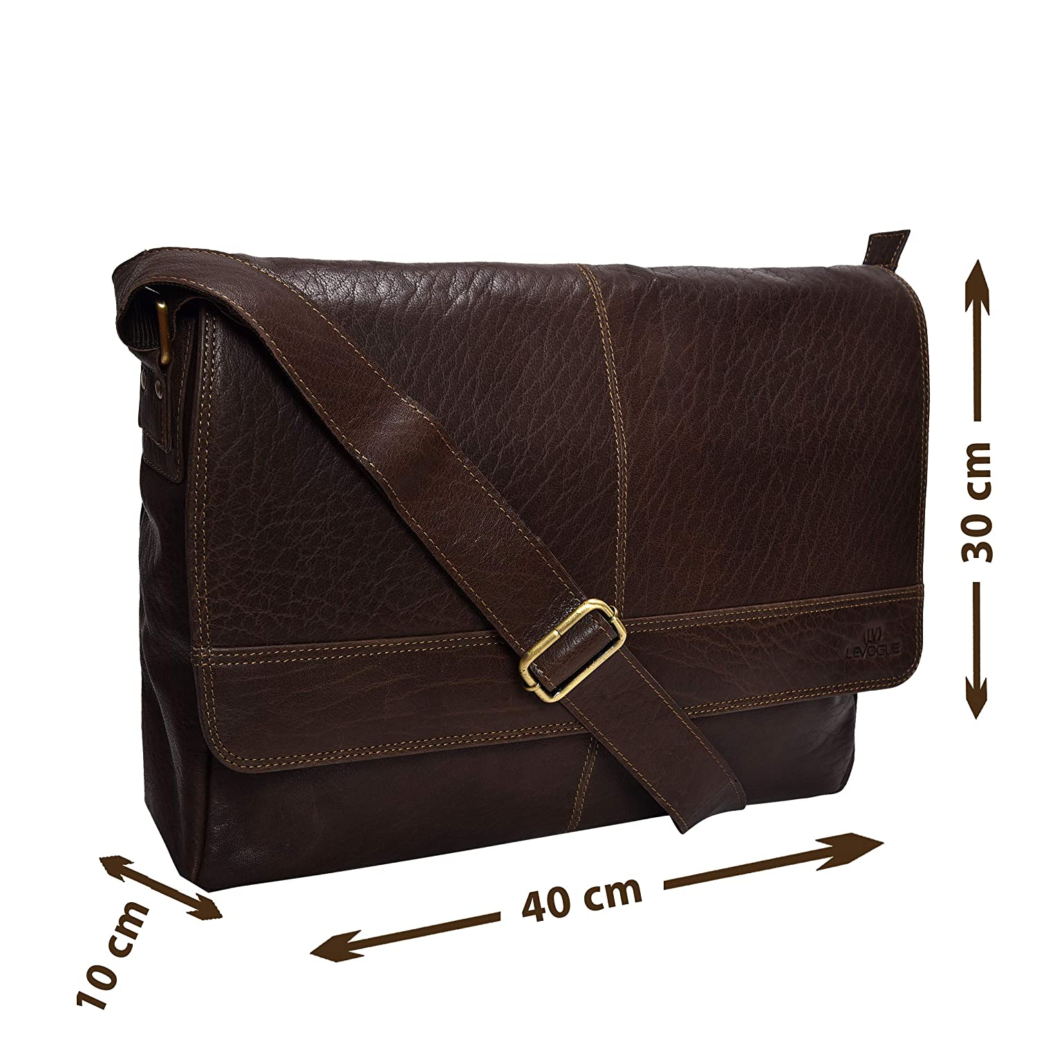 db4dc558915f Amazon.com  Genuine Leather Messenger Bag for Men and Women - 14 inch  Laptop Bag for College Work Office by LEVOGUE (BROWN BUFF TRUMBLE)  D.L.C