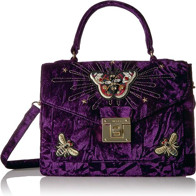 ALDO DUROSTY Pink Crushed Velvet Handbag Women's Purse Top Handle Shoulder Bag