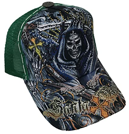51c1cb49ebe Amazon.com  TATTOO Santa Muerte Skull Rhinestone Trucker Mesh Fashion Ball  Snapback Cap Hat  Sports   Outdoors