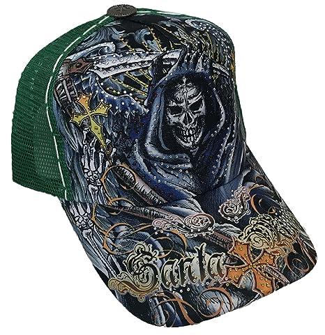 Amazon.com  TATTOO Santa Muerte Skull Rhinestone Trucker Mesh ... 2781ac0be14c