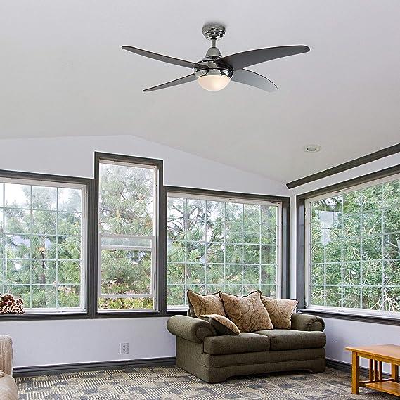 finitura cromata ed un telecomando pratico Ventilatore da soffitto con luce con 4 pale reversibili Apache di grandi dimensioni legno scuro ed argento MiniSun 1220mm