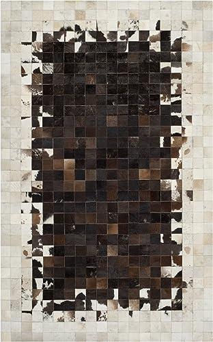 Safavieh Studio Leather Collection STL215B Handmade Modern Abstract Animal Ivory and Dark Brown Leather Area Rug 5' x 8'