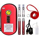 WOLFTEETH 2 Pack CE4 E Cigarette Starter Kit | Rechargeable 1100mAh | CE4 Atomizer liquid Refillable | Electronic Cigarettes Vaporiser Case Set | Nicotine Free 1002(Red)