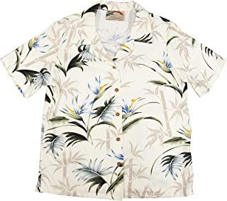 product image for Paradise Found Women's Bamboo Paradise Aloha Shirt, Cream, M