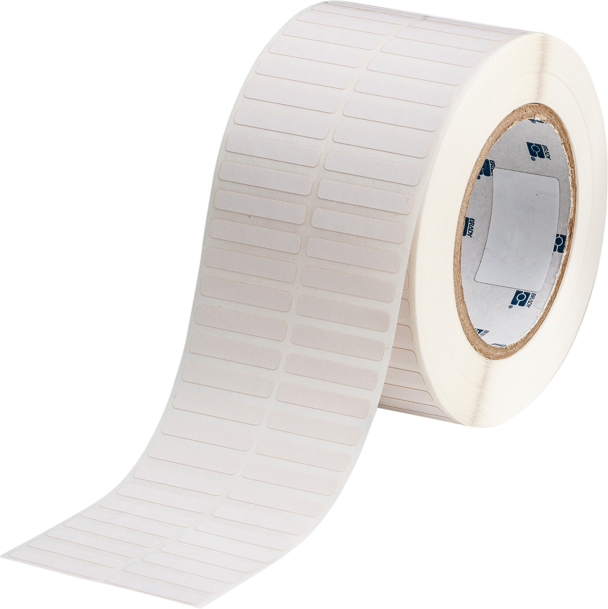 Brady THT-40-497-10 1.375'' Width x 0.25'' Height, 3.05'' Web Width, B-497 Low-Profile Polyimide, Matte Finish White Thermal Transfer Printable Label (10000 per Roll)