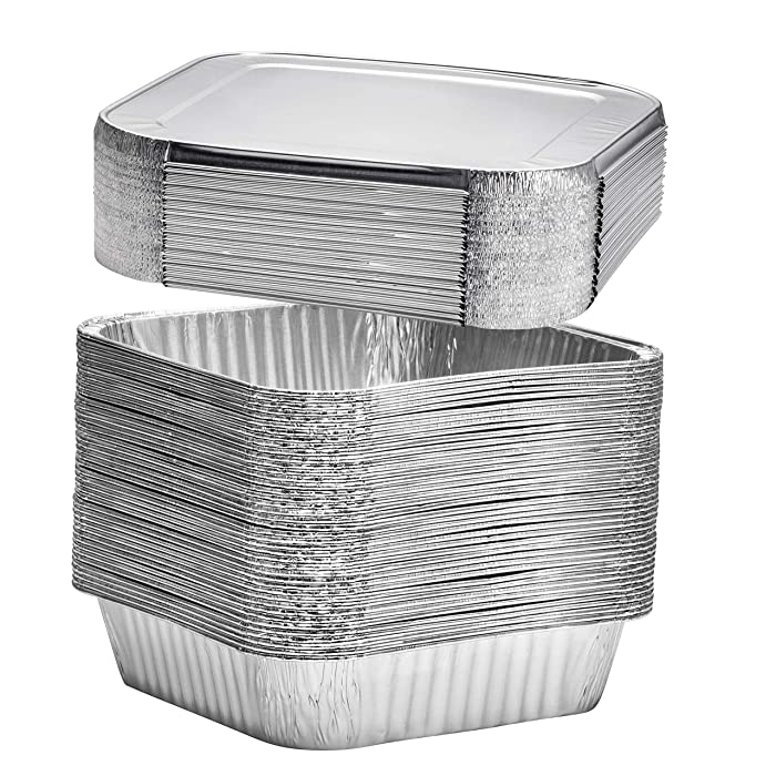 "8"" Square Disposable Aluminum Cake Pans - Foil Pans perfect for baking cakes, roasting, homemade breads 
