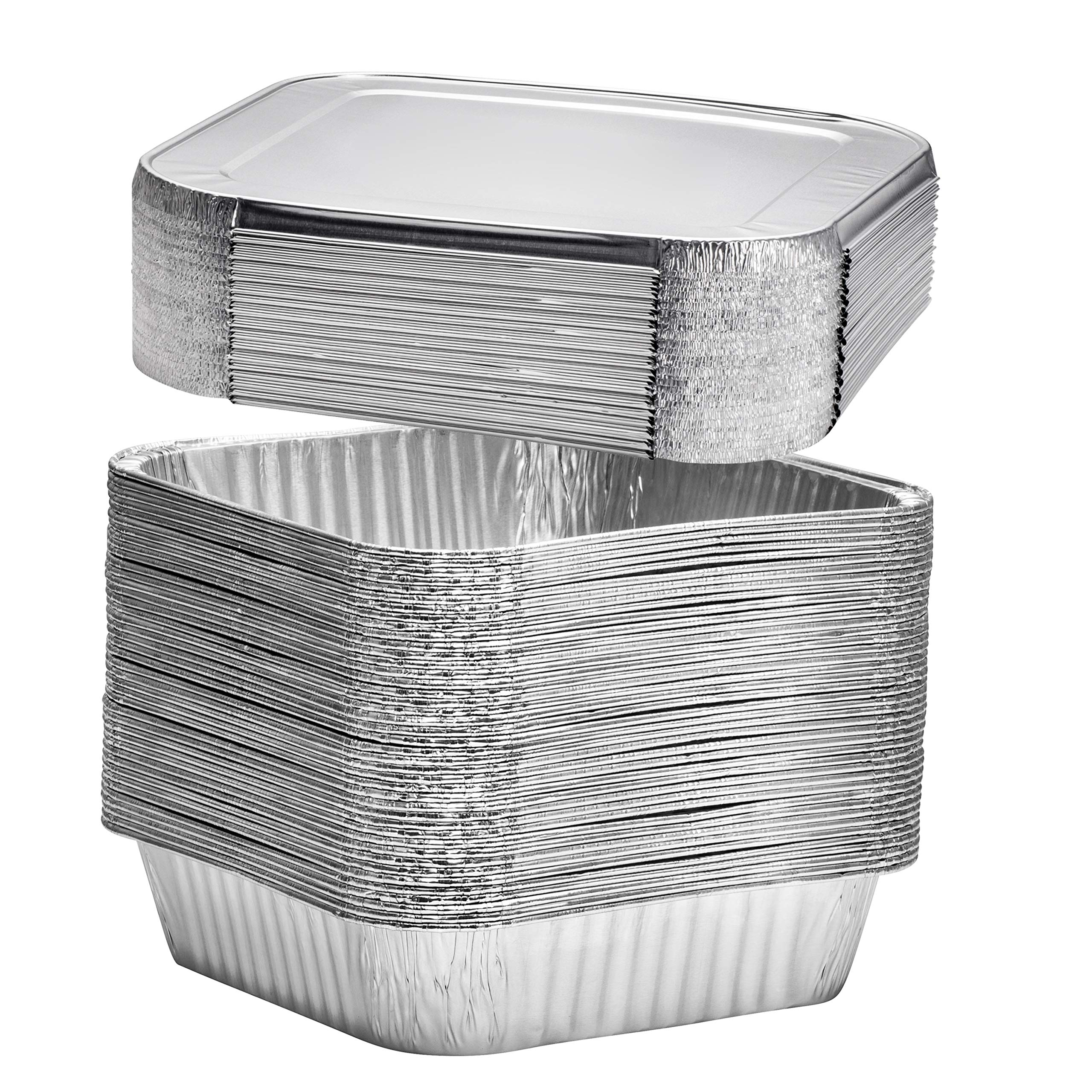 8'' Square Disposable Aluminum Cake Pans - Foil Pans perfect for baking cakes, roasting, homemade breads   8 x 8 x 2 in with Flat Lids (20 count)