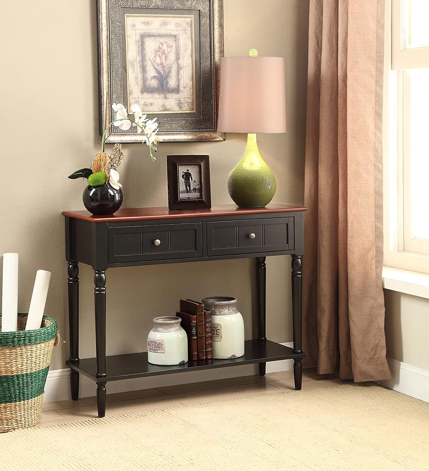 Convenience Concepts French Country Two Drawer Hall Table, Black / Cherry