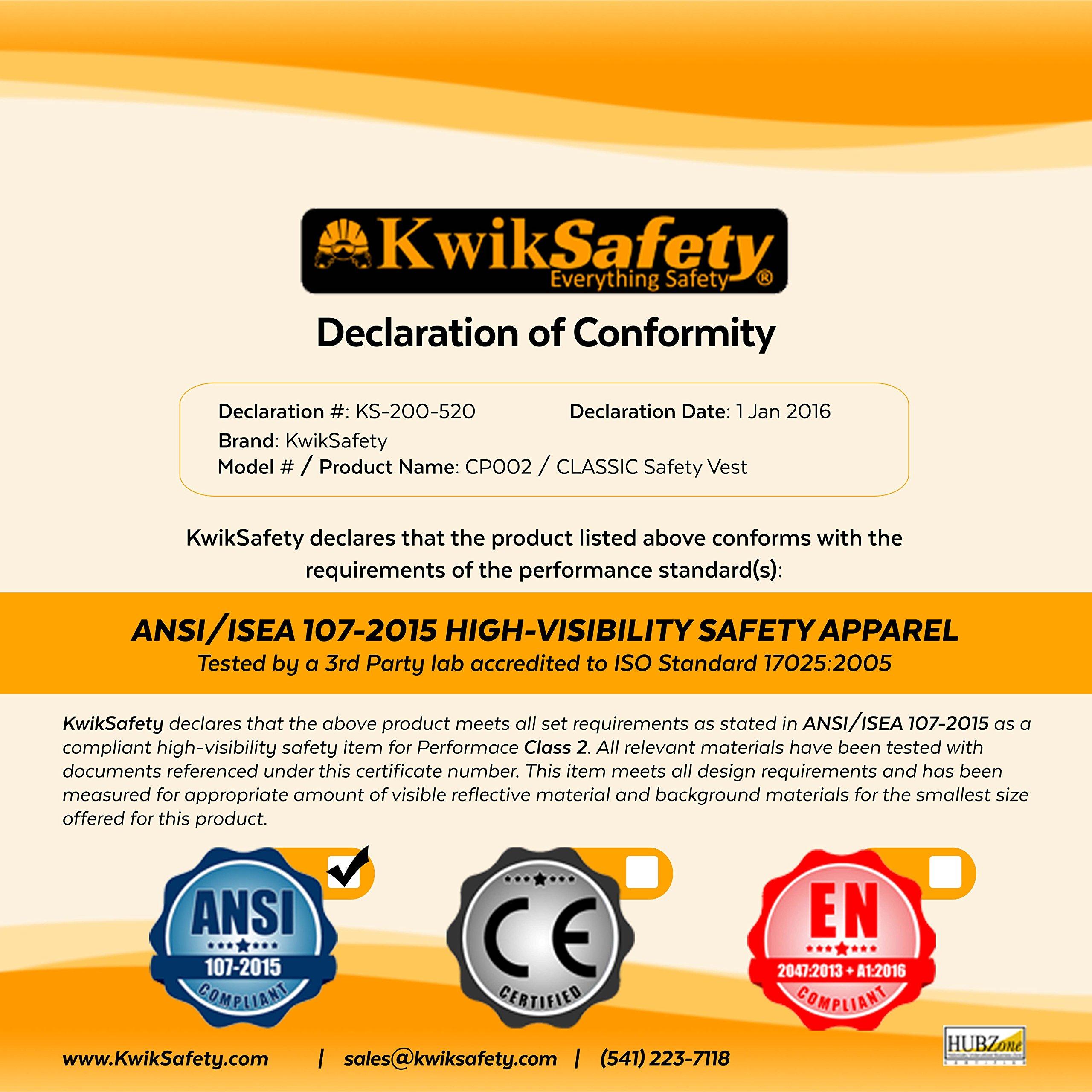 KwikSafety CLASSIC Safety Vest | Class 2 ANSI OSHA PPE | High Visibility Reflective Stripes, Heavy Duty Mesh with Pockets and Zipper | Hi-Vis Construction Work Hi-Vis Surveyor | Orange S/M by KwikSafety (Image #9)