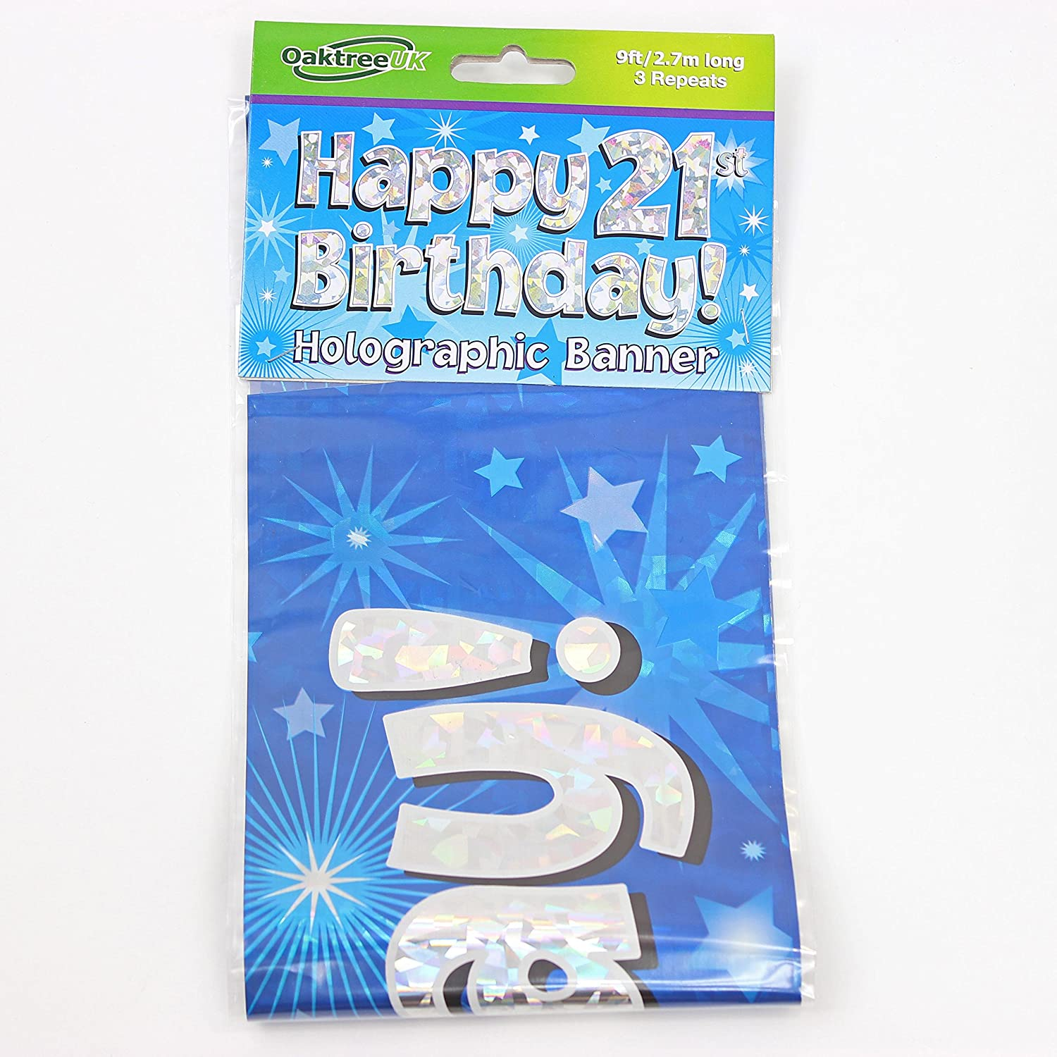 21st Birthday Blue Holographic Banner by Signature Balloons
